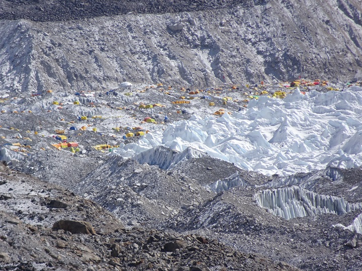 amazing view of tent camp at everest